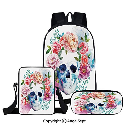 3 piece book bag set,Funny Skull with Colorful Floral Head Victorian Style Dead Skeleton Graphic Art Print Decorative,Multi,for School Travel Set