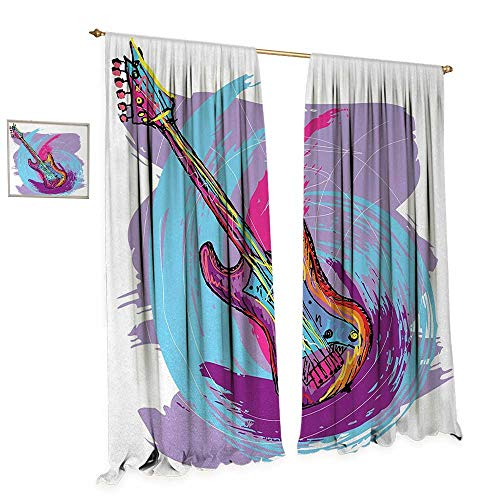 (Anniutwo Grunge Window Curtain Drape Hand Drawn Electric Guitar with Motley Curved Grunge Effects Modern Music Icon Decorative Curtains for Living Room W72 x L108 Pink Purple Blue)