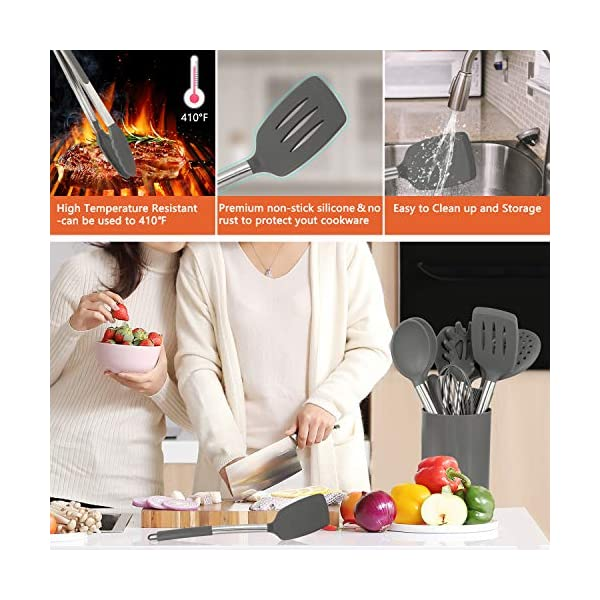Silicone Cooking Utensil Set,Kitchen Utensils 17 Pcs Cooking Utensils Set,Non-stick Heat Resistant Silicone,Cookware… 3