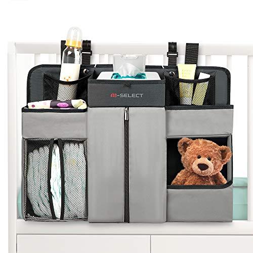 Baby Nursery Diaper Organizer - Hanging Caddy Accessory Organizer for Baby Crib, Playard, Changing Table -