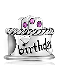 Charmed Craft 925 Sterling Silver Happy Birthday Cake Jan-Dec Birthstone Candles Charm Beads For Charm Bracelets Gifts