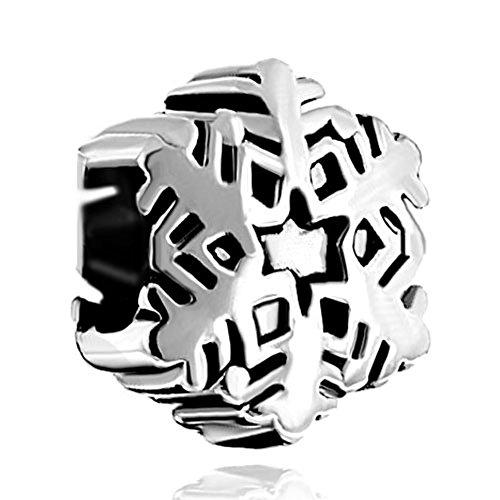 CharmsStory Silver Plated Snowflake Bead Fit Pandora (Plated Snowflake Charm)
