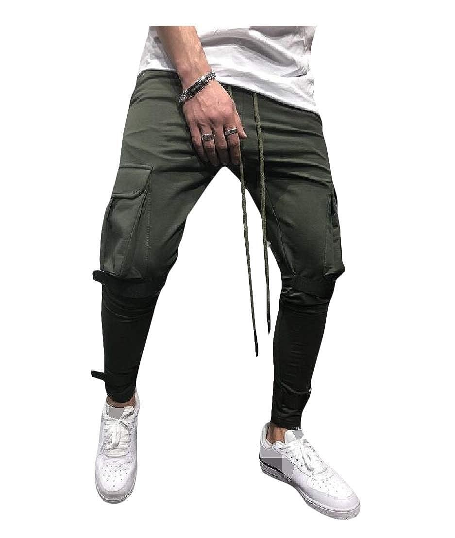 Wofupowga Mens Trousers Slim Fit Elastic Waist Sports Pants Army Green M
