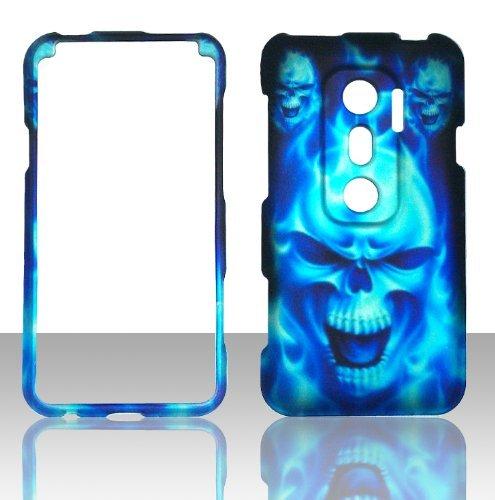 2D Blue Skull HTC Evo V 4G Virgin Mobile, EVO 3D Sprint Case Cover Hard Phone Case Snap-on Cover Rubberized Touch Faceplates (Htc Evo V 4g Case Virgin Mobile)