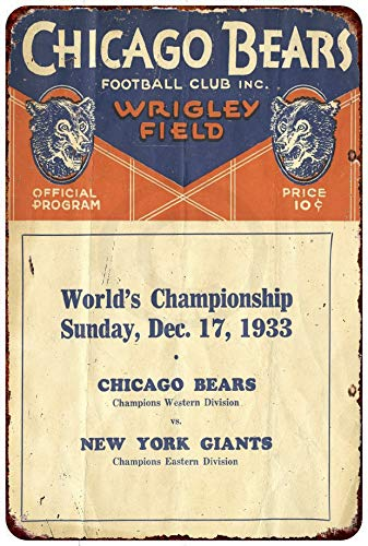 Custom Kraze 1933 Chicago Bears Wrigley Field Vintage Reproduction Metal Sign 8 x 12
