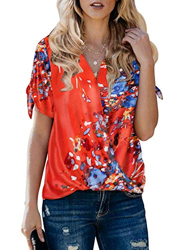 Itsmode Floral Print Chiffon Blouses for Women Short Sleeve Ladies Cold Shoulder Cutout V Neck Wrap Front Tunic Flare Shirts Loose Tops Black Medium ()