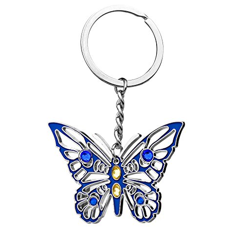 Crystal Butterfly Keychain Favors (Pretty Butterfly Keychain - DreamsEden Cute Metal Key Ring Chain with Gift Box, Best Gift for Women Girls (Single-Sided Butterfly))