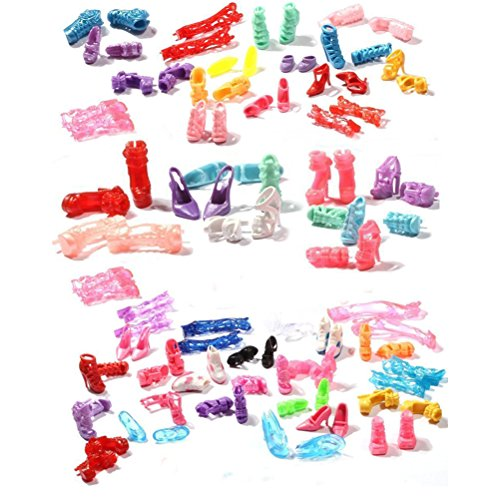 Buytra 60 Pairs Doll Shoes High Heeled Shoes Boots Accessories for Barbie Dolls Girls' Birthday Gifts ()