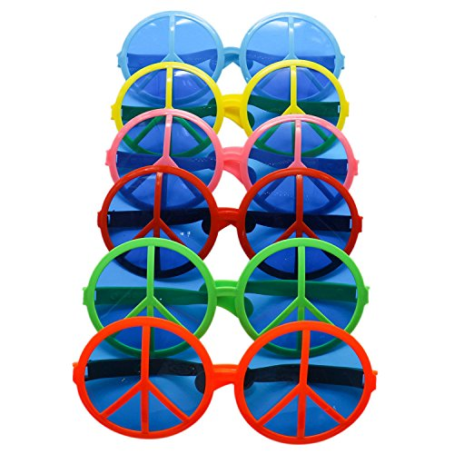Buorsa Plastic Big Peace Sign Glasses Wacky Oversized Glasses Funny Exaggerated Glasses For men (Glass Peace Sign)