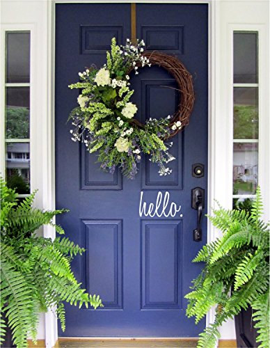 N.SunForest Hello Quote Greeting Front Door Decal Script Lettering Entry Way or Porch Vinyl Sticker Farmhouse ()