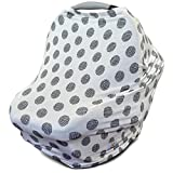 Stretchy Multi Use Carseat Canopy | Nursing Cover | Shopping Cart & High Chair Cover | Scarf - Polka Dot | Best Baby Shower Gift for Boys & Girls | Fits Infant Car Seat | for Breastfeeding Moms