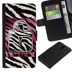 Planetar® Modelo colorido cuero carpeta tirón caso cubierta piel Holster Funda protección Para Samsung Galaxy S5 Mini / SM-G800 (Not For S5!!!) ( Zebra Rosa Blanco Negro Cita texto)
