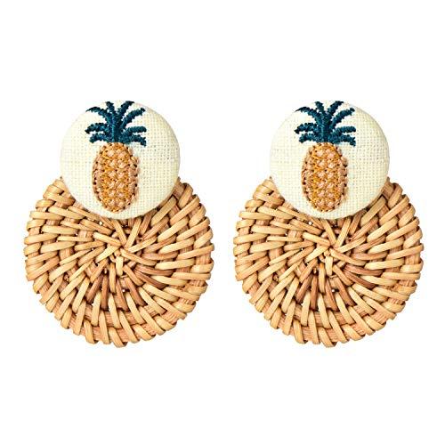 Fashion Straw Handmade Rattan Weave Earrings Round Circle Drop Dangle Earring for Women Girls ()