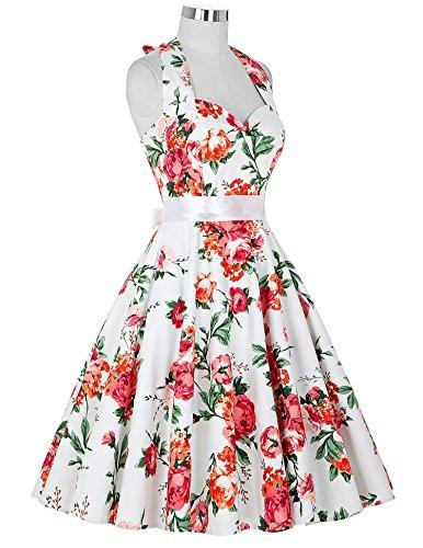 Robe Vintage à Col Cœur et A Style avec Grand Pan Rose Taille M CL6075-13