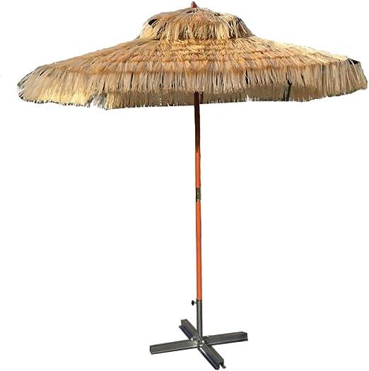 KUWD Sombrilla Tiki con Techo De Paja, Sombrillas De Playa, 1.8m * 1.8m, Altura 2.4m, ParagüEro De Madera Maciza, DiseñO Cuadrado, Adecuado para Playa, Piscina, JardíN, Centro Comercial Al Aire Libr: Amazon.es: