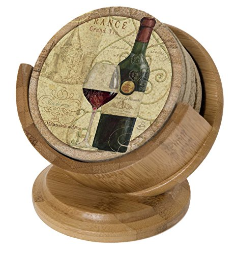 Thirstystone Pedestal Coaster Holder, Bamboo