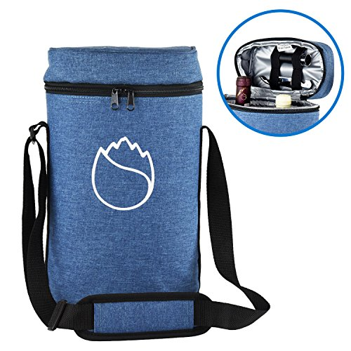 Freshore Wine Cooler Tote Carrier 2 Bottle Set Bag For Travel/Picnic As Gift - Store Two Corkscrew And Cheese - Fashionable Design With Adjustable Strap(Cowboy Blue) ()