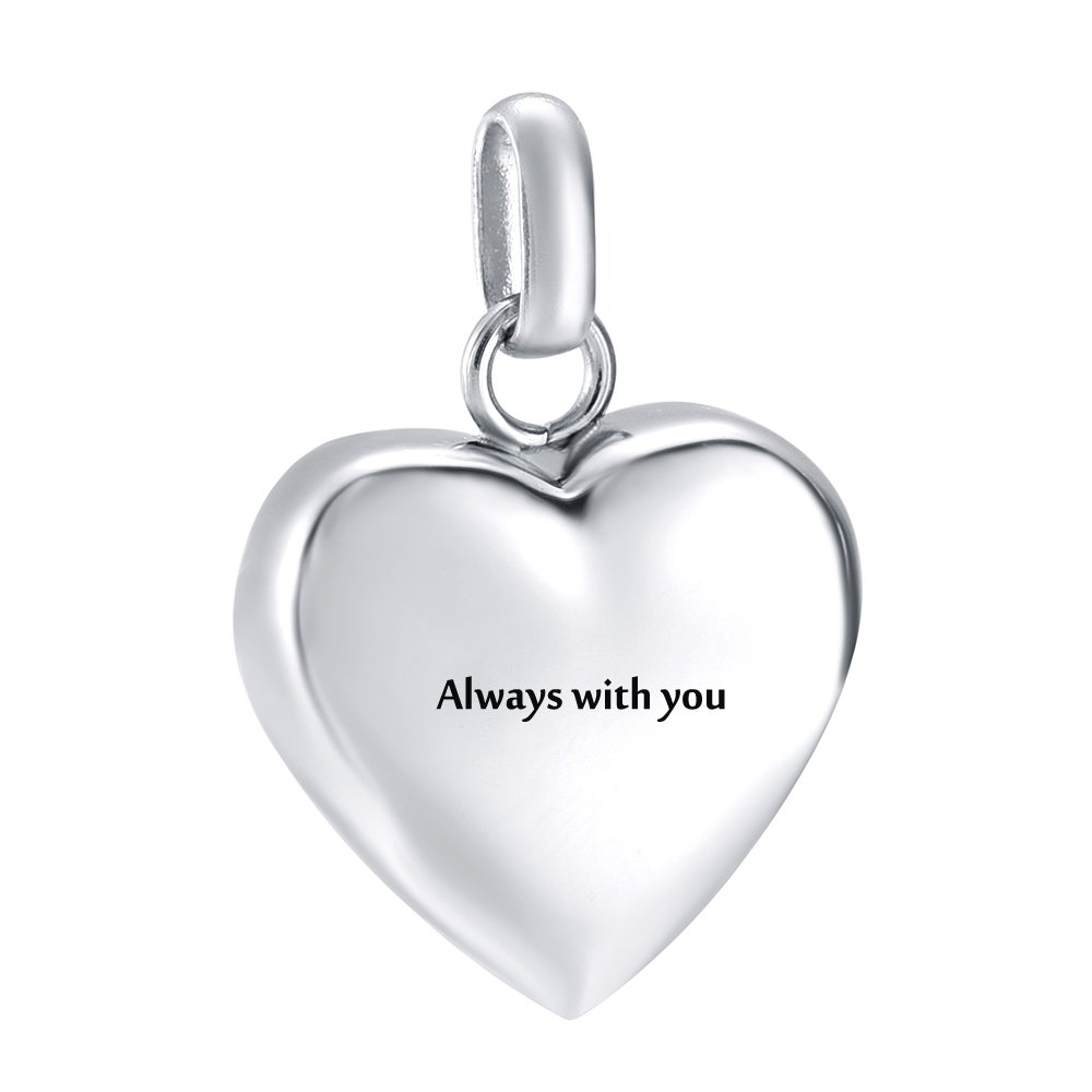 High Polish Engravable Blank Love Heart Pendant Stainless Steel Ashes Keepsake Urn Necklace for Ashes Cremation Jewelry (Always with you)