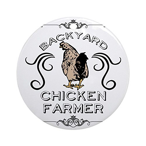Novelty Decoration Backyard Chicken Farmer Round Ornament Porcelain Christmas Ornaments for Christmas Tree Decorations 3 Inches