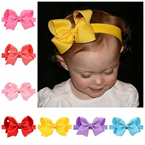 YHXX YLEN Large Cheer Bows for Toddlers Babies Big Girls 4'' Headbands 20 Colors (20 PCS Mix)