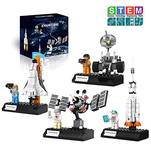 KWANITHINK Space Building Block Toys for Kids, 4 in 1 Space Construction Toys with Rocket, Satellite Lunar Lander and Astronaut, STEM Educational Toys for Boys and Girls