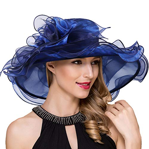 Women Organza Kentucky Derby Church Dress Fascinator Wide Brim Wedding Tea Party Hats (Navy Flower)