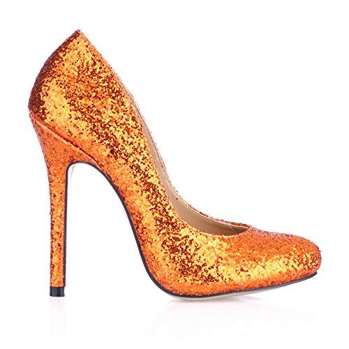 chaussures en fine noir haut de cuir Bright Slice à talon à Chaussures goût Le verni ronde Orange tête printemps xnwPOzSRq