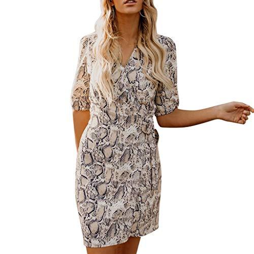 ℱLOVESOOℱ Fashion Women's Summer Dress Casual Snake Print Knee-Length Dress Ladies Sexy V-Neck Strappy Dress Holiday Dress