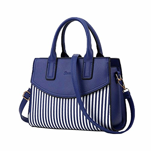 Bolso Leather Pupa Mujer Stripe azul CCZUIML Bag Bandolera Crossbody Blanco 6qw4cB50