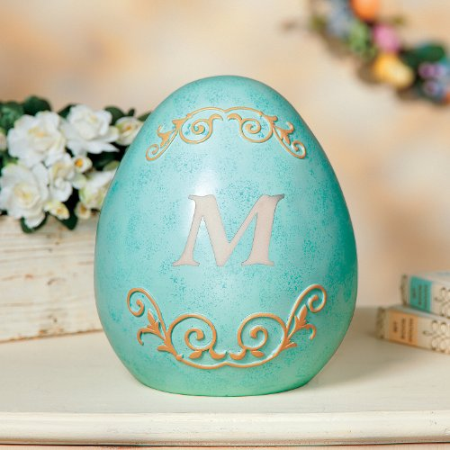 Springtime Accent - Monogrammed Easter Robin's Egg Blue Figurine Table Top Accent Decor Personalized Springtime Whimsical Scrollwork Collectible Family Heirloom Decorative Centerpiece Gift Spring Decoration