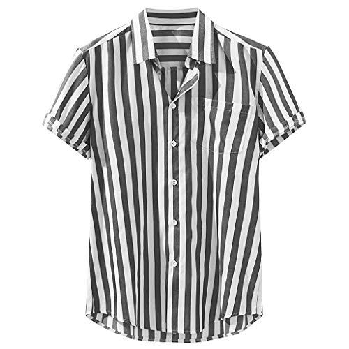 - Beautyfine Mens Striped Print Linen Blouse Chest Pocket Short Sleeve Round Hem Loose Large Size Shirts Black