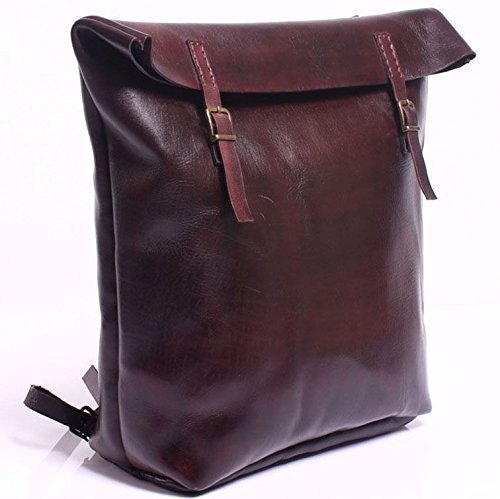 Dark Burgundy Leather Handmade Backpack by AnyLeatherDesigns