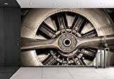 wall26 - Vintage Propeller Aircraft Engine Engineering Closeup - Removable Wall Mural | Self-adhesive Large Wallpaper - 66x96 inches
