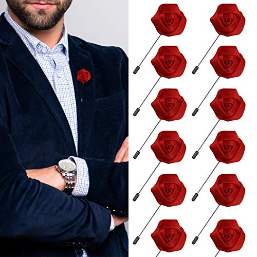 JLIKA Lapel Pins for Men Flower Pin Rose for Wedding Boutonniere Stick Boutineers (Set of 12 PINS) (Red)