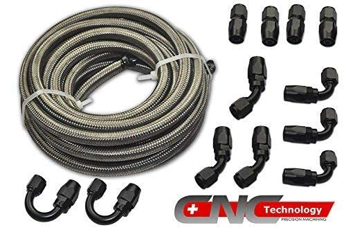 AN-4 Stainless Steel Braided Fuel Line Hose Swivel Fittings Kit 4AN 30ft Black