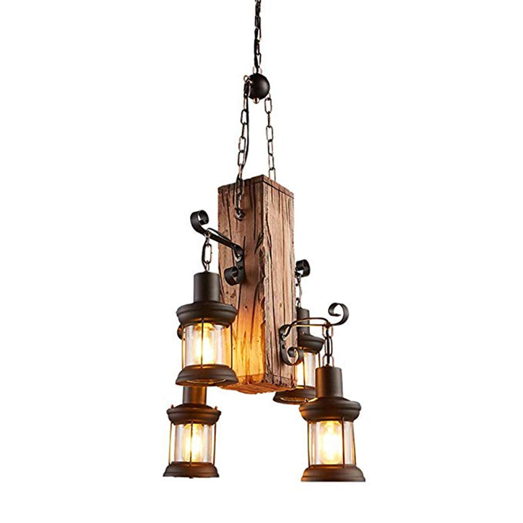 Chandeliers Hanging Lamp Lampadario Industriale A 4 Luci, Lampadario in Legno Vintage (Senza Lampadina) Office Ceiling Lights (Color : A) by Xk-Ceiling Lights