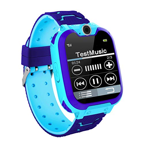 Huangou Kids Intelligent Two-Way GSM Audio Alarm LBS Tracker Smart Watch, Smartwatch Toys for 3-12 Year Old Boy and Girls Kids, Best Birthday Smarter and Top Popular Digital Watches (Free, Blue)