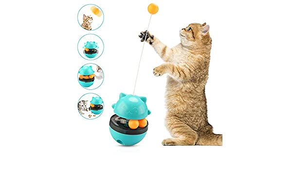 KONKY Juguetes para Gatos Interactivos, Automático Dispensador de Comida para Gatos, 4 en 1 Bolas Educativas, Vaso Giratorio con Bola Volteadora y Gracioso gato palo: Amazon.es: Productos para mascotas