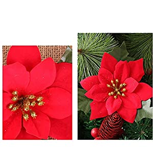 Shxstore 10 pcs 6 Inches Red Artificial Poinsettia Wedding Christmas Flowers for Crafts and Ornaments 3