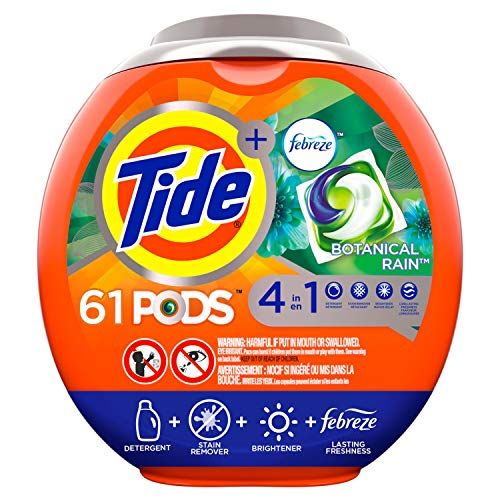 (Tide PODS Laundry Detergent Liquid Pacs, Botanical Rain Scent, 4 in 1 HE Turbo, 61 Count Tub (Packaging May Vary))