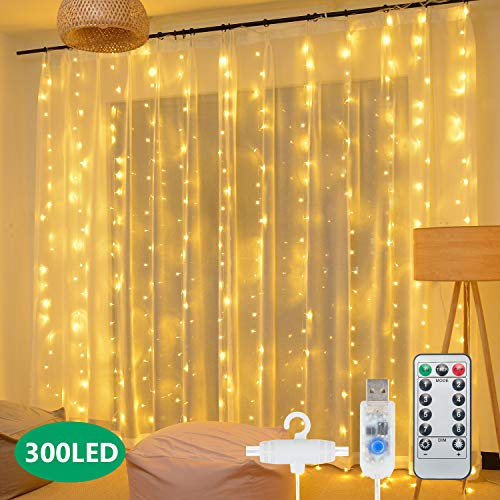 Curtain String Lights,300 LED Hanging Window Curtain Lights 9.8 Ft 8 Lighting Modes Fairy Lights Remote Control USB…
