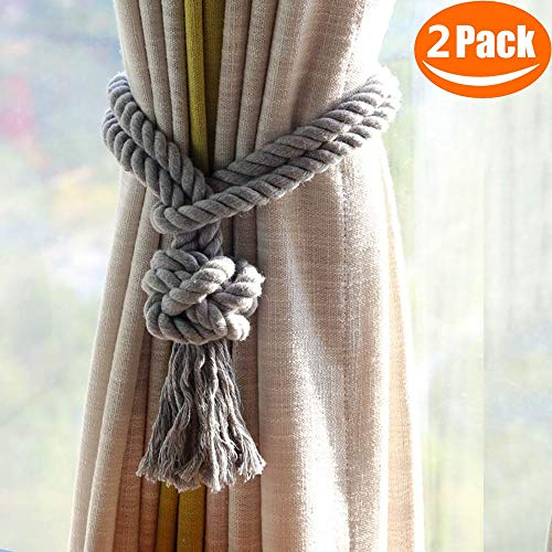 Melaluxe 2 Pack Curtain Tiebacks - Natural Cotton Curtain Rope Tieback, Handmade Rural Decorative Curtain Holdbacks (Grey Tassel) (Decorative Holdback)