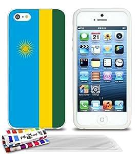 Carcasa flexible Ultrafina Blanca Original de MUZZANO estampada Bandera Ruanda para APPLE IPHONE 5S + 3 películas de protección UltraClear para la pantalla