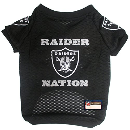 NFL Oakland Raiders Jersey for Pets. - Oakland Raiders Raglan Jersey Raider Nation - Small. Cutest Football Jersey for Dogs & Cats