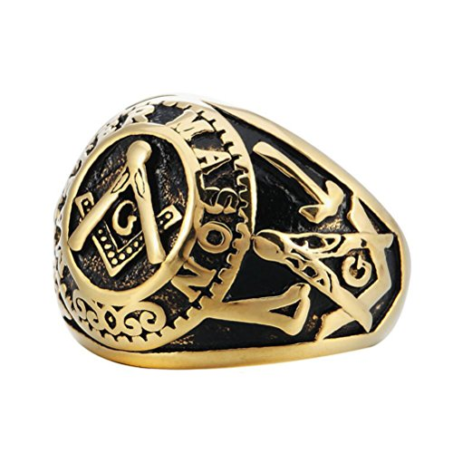 INRENG Men's Stainless Steel Vintage Freemason Masonic Rings Signet Biker Bands Black Gold Size 10 (Masonic Signet Ring)