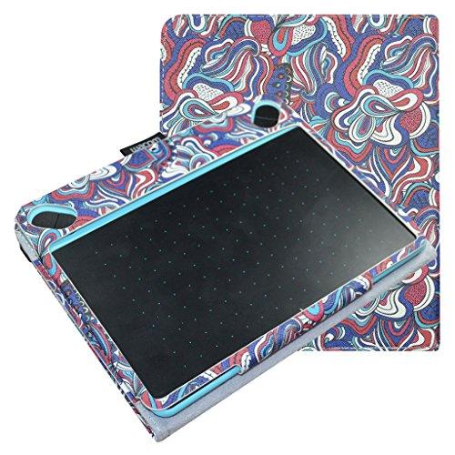 Mama Mouth Slim-Book Folio Carry PU Leather Cover for Wacom Intuos Medium Art CTH690AK CTH690AB / 3D CTH690TK / Comic CTH-690/K1 CTH-690/B1 Digital Drawing Tablet,Mushroom Fantasy