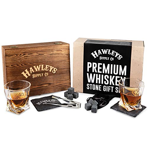 - Whiskey Stones Glass Gift Set - For Scotch, Whisky, Bourbon, or Your Tasting Liquor/Alcohol. Perfect Gifts for Men. Wooden Box, 2 Large Crystal Drinking Glasses, 8 Granite Stone Ice Rocks
