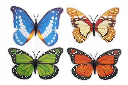 4 pc RAM-PRO Beautiful Large Colorful & Realistic 3-D Design Assorted Butterflies For Refregirator Cabinets Windows Girls Room Garden Locker ()