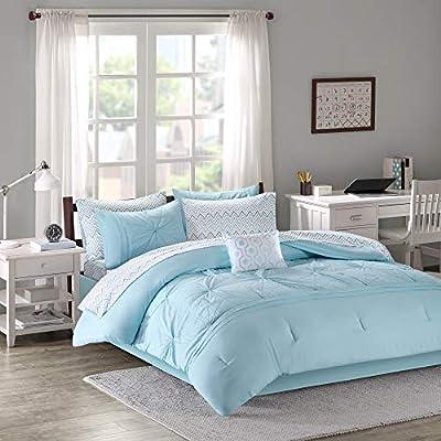 Intelligent Design Toren Comforter Set Queen Size Bed In A Bag - Aqua: Home & Kitchen
