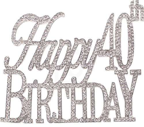 Happy 40th Birthday Cake Topper, Crystal Rhinestones on Silver Metal, Party Decorations, Favors (Birthday Cake Favor)